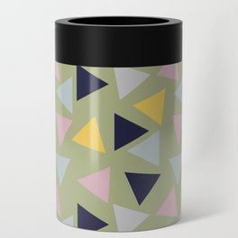 Retro Geometric Triangle Print Can Cooler