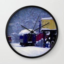 Wintry Train Siding Wall Clock