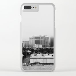 Back Side of the Bellagio // Las Vegas Strip City Landscape Cloudy Snow Day Foggy Raw Photograph Clear iPhone Case