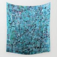 splatter Wall Tapestries featuring teal splatter by Stella Joy