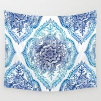 indian Wall Tapestries featuring Indian Ink - in Blues by micklyn