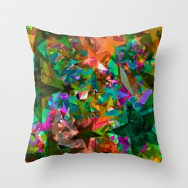 Bright green stars from foil on orange shards of glass. Throw Pillow