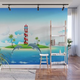 Jumping Dolphin on Sea Wall Mural