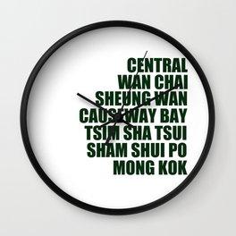 Hong Kong Neighbourhoods Wall Clock