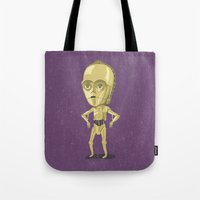 c3po Tote Bags featuring C3PO by Rod Perich
