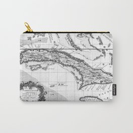 Vintage Map of Cuba and Jamaica (1763) BW Carry-All Pouch
