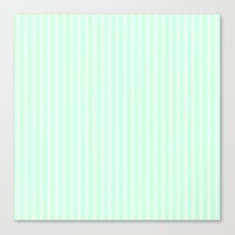 White Matress Ticking Stripes on Soft Summermint Green Canvas Print