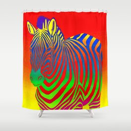 Colorful Psychedelic Rainbow Zebra Shower Curtain