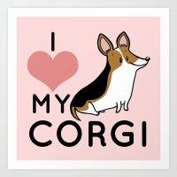 I Love My Corgi - Black Art Print