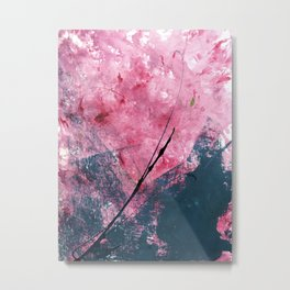 Orchid: a bright abstract mixed media piece in blue, pink, and, black Metal Print