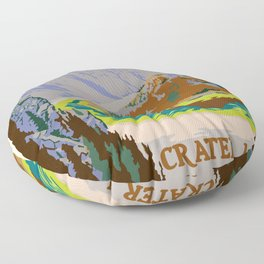 Crater Lake National Park Vintage Travel Poster Floor Pillow