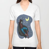 starry night V-neck T-shirts featuring Starry Night by Kitty C.