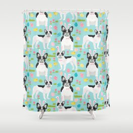 French Bulldog easter spring dog breed gifts pure breed frenchies black and white coat Shower Curtain