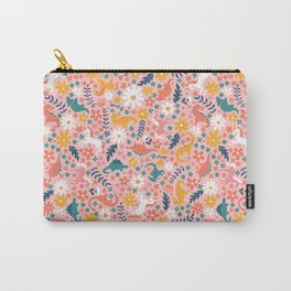 Floral Burst of Dinosaurs + Unicorns Carry-All Pouch