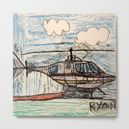 Fire Quenching Helicopter Metal Print