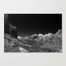 Zion Park View in B&W Canvas Print