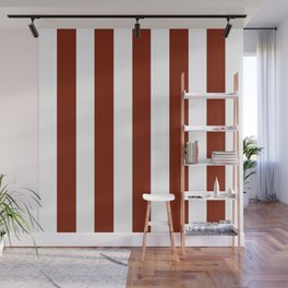 Kenyan copper red - solid color - white vertical lines pattern Wall Mural