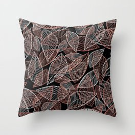 Abstract rose gold silver black glitter leaf pattern Throw Pillow