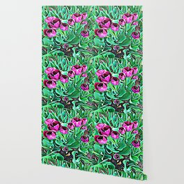 Nurturing Flowers in Pink Wallpaper