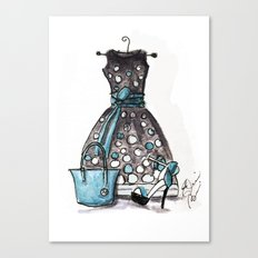 Dots and Shoes Fashion Watercolor Canvas Print