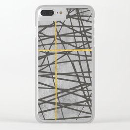 Black abstract black and gold lines on concrete - Mix & Match with Simplicty of life Clear iPhone Case