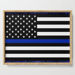 Blue Police Flag with Officers Serving Tray