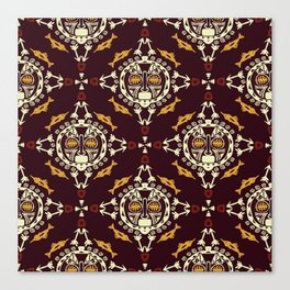 pattern with Tribal mask ethnic on dark Canvas Print