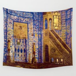 Islamic Masterpiece 'Interior of the Mosque' by Jéan Leon Gerome Wall Tapestry