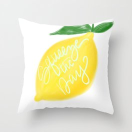 Squeeze the day lemon art Throw Pillow