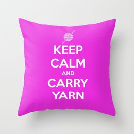 Keep Calm and Carry Yarn - Fuschia Solid - Crochet Throw Pillow