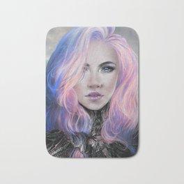 Ambrosial - Futuristic sci-fi girl with pink hair portrait Bath Mat