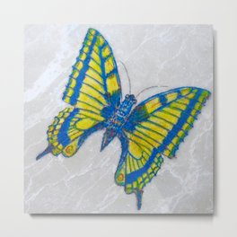 Marble Butterfly Etching by Catherine Metal Print