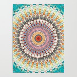 Teal Orange Yellow Boho Mandala Poster