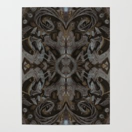 Curves & lotuses, black, brown and taupe Poster