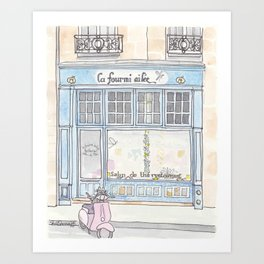 Paris Blue Cafe with Pink Scooter Cat  Art Print