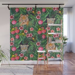 Leopard and tiger jungle floral Wall Mural