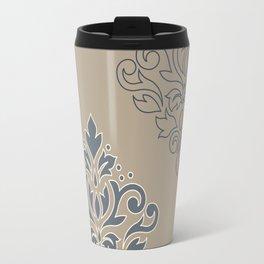 Scroll Damask Art I (outline) Crm Blues Sand Travel Mug