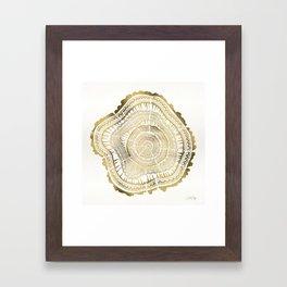 Gold Tree Rings Framed Art Print