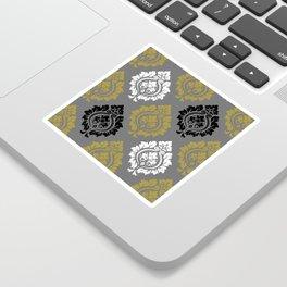 Decorative Damask Pattern BW Gray Gold Sticker