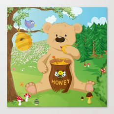 Baer with honey Canvas Print