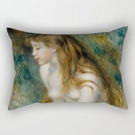 "Pierre-Auguste Renoir ""Young girl bathing"" Rectangular Pillow"
