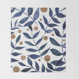 Watercolor berries and branches - indigo and beige Throw Blanket