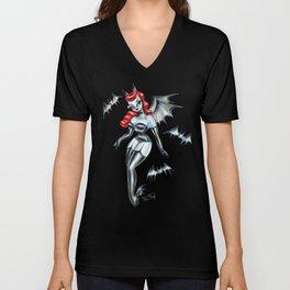 Vampire Bat Pinup Girl Unisex V-Neck