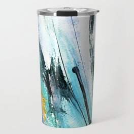 Splash: a vibrant mixed media piece in blues and yellows Travel Mug