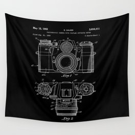Vintage Camera Patent Black Blueprint Wall Tapestry