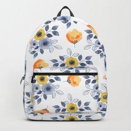 Elegant blue orange yellow watercolor hand painted floral Backpack