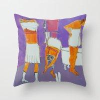 bath Throw Pillows featuring Bath by Barbara Muth