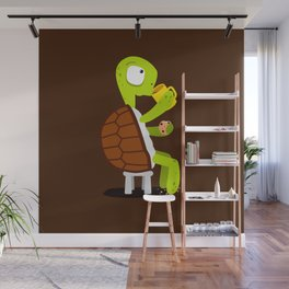 Turtle drinking tea with cookies. Wall Mural