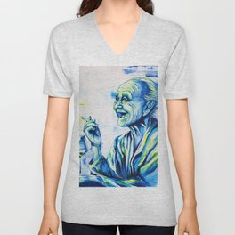 Happy End by carographic, portrait art Unisex V-Neck