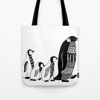 penguins Tote Bags featuring Penguins by Sophie H.